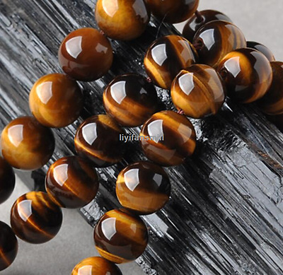 Fashion 8MM African Natural Tiger's Eye Beads Chain Round Loose Bead 15.15''