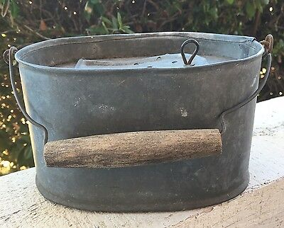 Small Vintage French Galvanized Zinc Fishing Creel Bait Bucket w/ Wood Handle