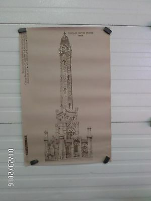 RARE 1975 Chicago Demonstration Building Merchandise Mart POSTER Water Tower