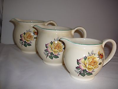Lord Nelson Ware Elijah Cotton Staffordshire Set of 3 Graduated Jugs Peace Rose