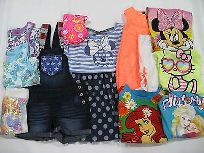 New Lot Of Girls Sz 6/6X Summer Clothes Shirts Jean Shorts Disney Dress Nwt