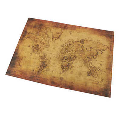 Vintage Style Poster Antique World Map Treasure Wall Print Large Mural Classic