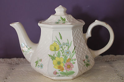 Vintage Sadler England Teapot - Yellow, Pink & Blue Flowers - Basket Weave