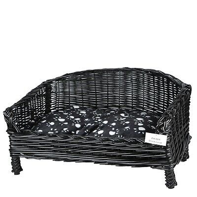 Wicker Pet Basket Sofa/bed In Black Curve Shape With Free Pillow