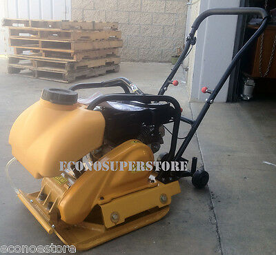 6.5 Hp Gas Vibration Plate Compactor Walk Behind Tamper Rammer W/ Water Tank