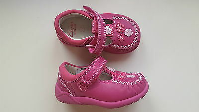 CLARKS baby girl LITZY LOU FST hot pink leather floral first shoes UK size 3 H