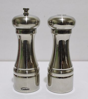 """TRUDEAU Pepper Mill And Salt Shaker Set 6.5"""" Stainless Steel New In Box"""