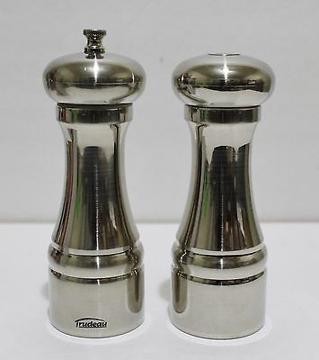 "TRUDEAU Pepper Mill And Salt Shaker Set 6.5"" Stainless Steel New In Box"