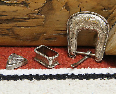 """Vintage STERLING SILVER 3/4"""" Ranger Buckle Set Floral with Rope Edge 1980s"""