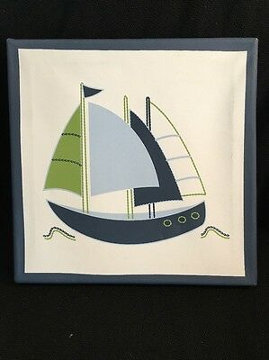 """Sailboat Canvas Print By Nautica 10""""X10"""" for Nursery/Child's Room ~ NAUTICAL"""