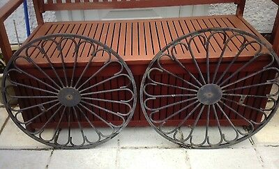 Two Wrought Iron 23 Inches Diameter Wheels
