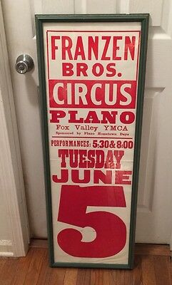 Vintage Circus Poster Framed Franzen Bros Plano Red Block Lettering Fox Valley