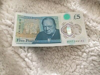 AK47 £5 Five Pound Note Genuine Pristine Condition Polymer *****Low Number******