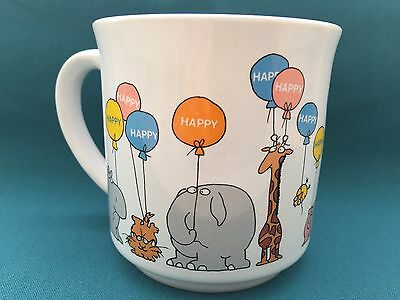VintageBOYNTON CARTOON ANIMALS pig cat lion BALLOONS COFFEE MUG HAPPY 1980s