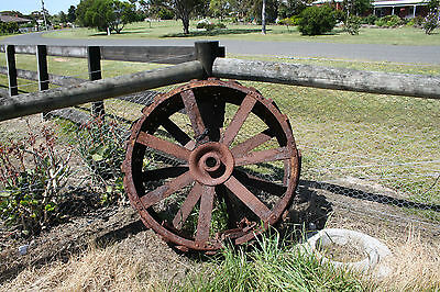 Antique steel tractor wheelS X 2 AT 109W and 28 D Great in garden Heavy