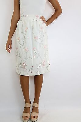 Vintage White Floral Embroidered A Line Skirt Size (XS-S)