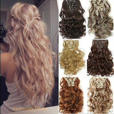 Real as remy human hair Long Clip in Hair Extensions Full Head Wavy Straight@@?
