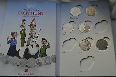 The Royal Mint Great British Coin Hunt Album forcoins to 2017- 50p with 13 coins