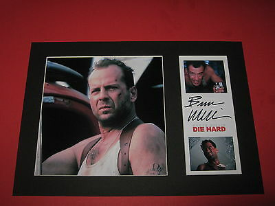 BRUCE WILLIS DIE HARD A4 PHOTO MOUNT SIGNED PRINTED AUTOGRAPH JOHN McCLANE