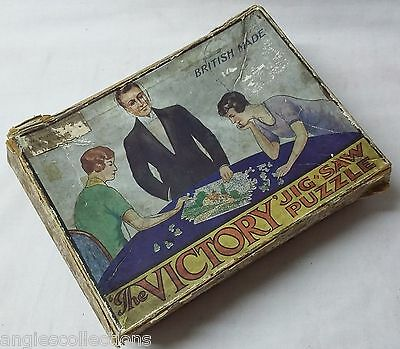 VICTORY Wood Boxed Wooden Jigsaw Picture Puzzle Early 1900's Antique