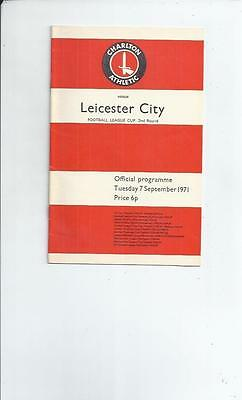 Charlton Athletic v Leicester City League Cup Football Programme 1971/72