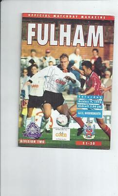 Fulham v Bournemouth Football Programme 1993/94 autographed