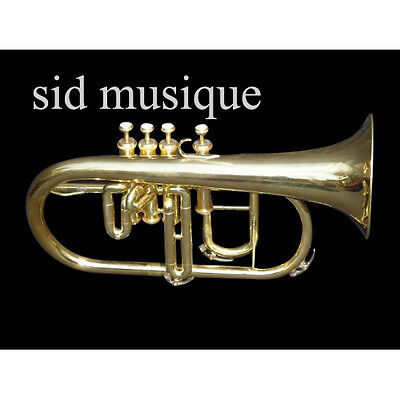 Flugel Horn Made Of Pure Brass With 4 Valve Pure Brass Made  Free Case & Mouthpc