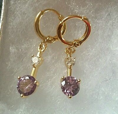 Beautiful 9Ct Gold Filled Amethyst And Created Diamond Drop Dangle Earrings