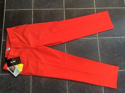 Adidas Mens Climalite Golf Trousers Red 32W 32L Stretch