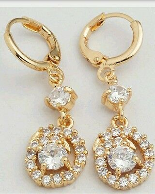Beautiful 9Ct  Gold Filled  Created Diamond  Hoop Dangle Earrings.