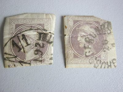 2 Early Postage Stamps With Fault