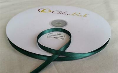 Double Sided Quality Satin Ribbon Bottle Green Craft Wedding 6mm 100m Roll 2m