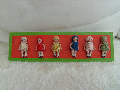 antique pattern card with 6 Dolls