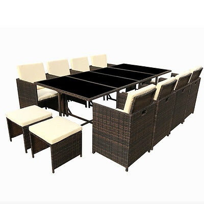 Poly Rattan Dining Area Synthetic Braun Lounge Garden Set Furniture New