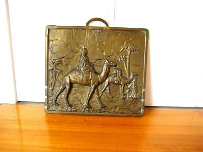 Antique Vintage Brass Fire Screen, Embossed with Egyptian Scene with Camels
