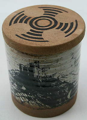 Handmade Welsh Pembrokeshire Pottery Storage Jar  Wooden Lid  & Castle Design