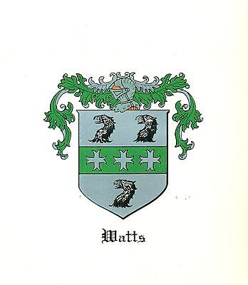 *Great Coat of Arms Watts Family Crest genealogy, would look great framed!