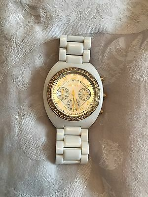 Women's DKNY White And Gold Ceramic Watch