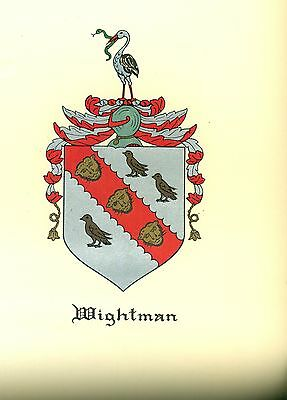 *Great Coat of Arms Wightman Family Crest genealogy, would look great framed!