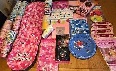 Large Job Lot Party Supplies, Cups, Plates, Cloths, Toys, Cards, Cake Decorating