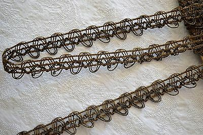 16.94_Yds_Antique_French_Bronze_Metallic_Passementerie_Trim_Made_In_France