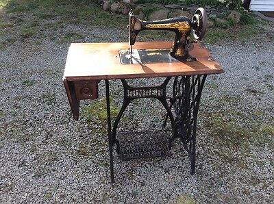 Vintage  Oak Singer Treadle Sewing Machine With Table and Cast Iron Legs,