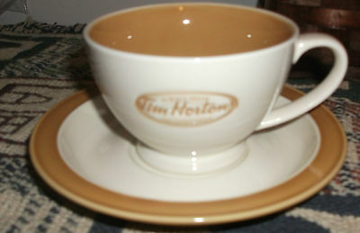 Tim Horton's Tea Cup & Saucer Always Fresh Collector Cream Coloured in Box MINT