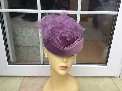 Ladies Vintage Pillbox Hat Lilac For Weddings/races/special Occ's,pristine Cond