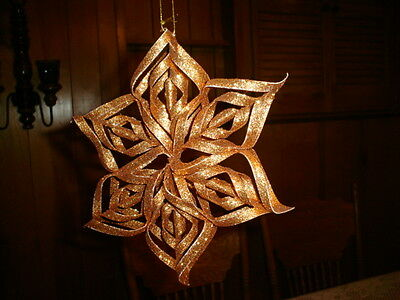 4-Pier 1 Import Gold Sparkly Snowflakes Ornaments