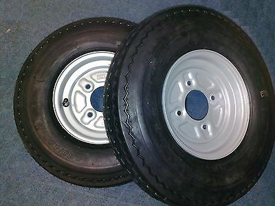 """2 x Trailer Wheels and Tyres 480/400 x 8"""" 100mm pcd 4 Ply"""