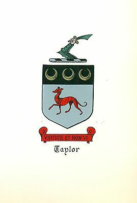 *Great Coat of Arms Taylor #1 Family Crest genealogy, would look great framed!