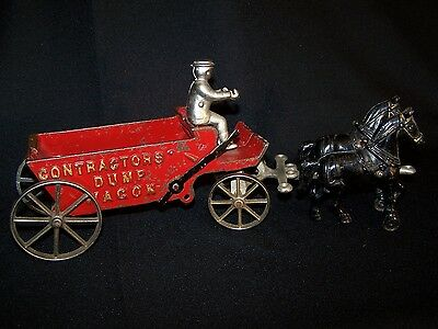 Antique Cast Iron Arcade Toy Contractor's Dump Wagon & Horses - Early 1900's