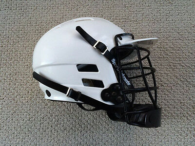 CASCADE CLH LACROSSE/FIELD HOCKEY HELMET, Sz S, White/Black, Used VERY GOOD Con