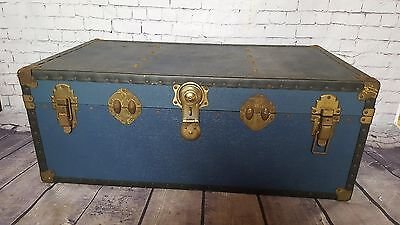 Large Vintage Antique Mossman Steamer Travel Trunk Toy Box Storage Coffee Table